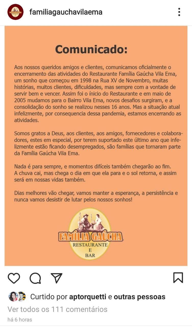 Comunicado oficial do restaurante 'Família Gaúcha Vila Ema' nas redes sociais.