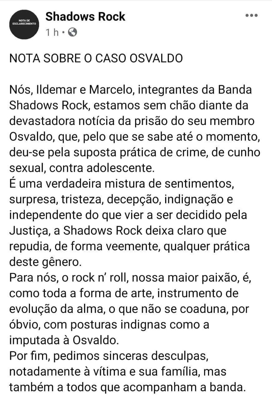 Nota oficial da Banda Shadows Rock nas redes sociais.