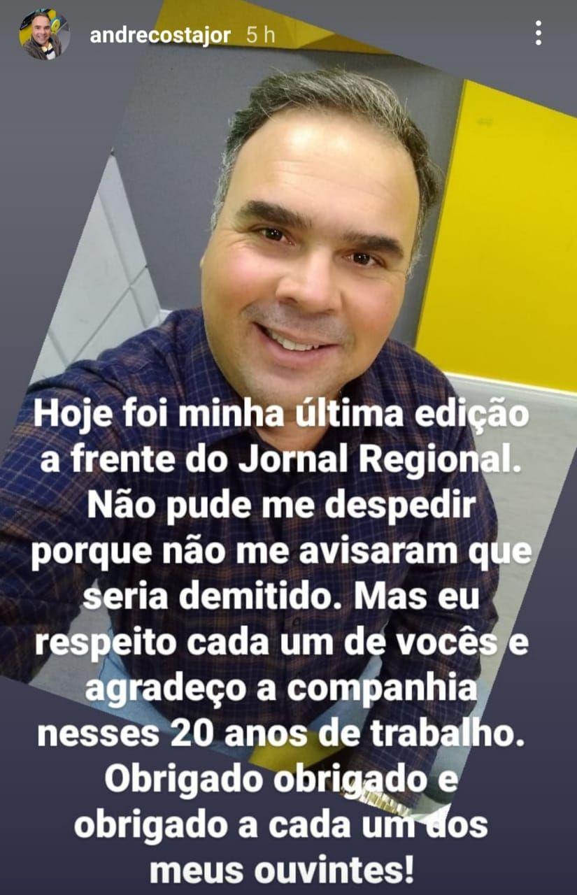 Jornalista André Costa faz post de despedida.