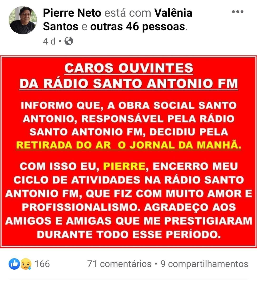 Publicação do radialista Pierre Neto nas redes sociais.