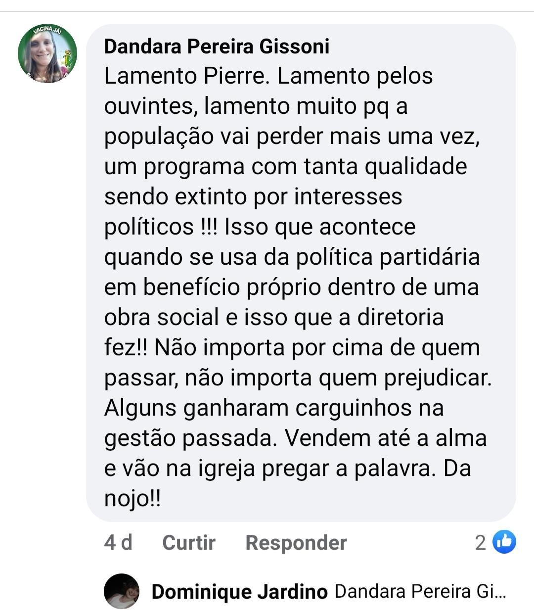 Publicação nas redes sociais da presidente da Câmara, Dandara Pereira Gissoni.