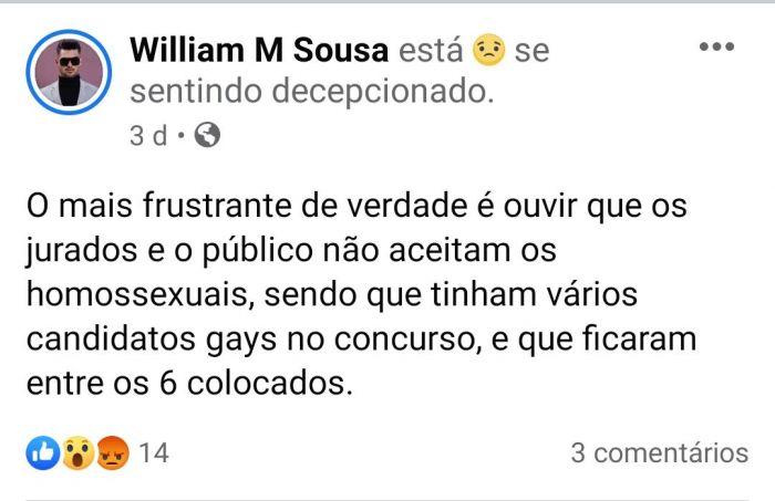 Publicação de William Sousa lamentando o ocorrido nas redes sociais.