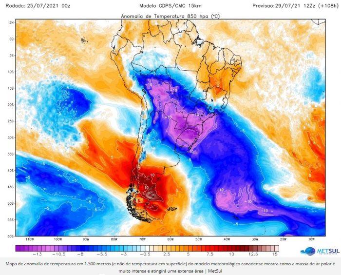 Frente fria deve chegar a partir desta quarta-feira (28) em toda região.