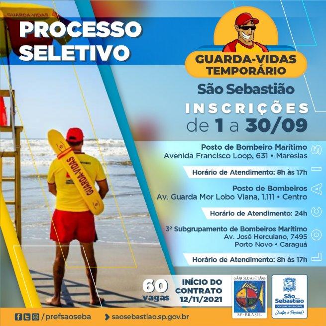 São Sebastião abre processo seletivo para guarda-vidas