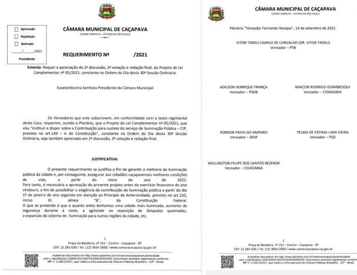 Requerimento de autoria do vereador Vitor Tadeu, que solicita segunda discussão para tentar aprovar a taxa extra de iluminação pública.