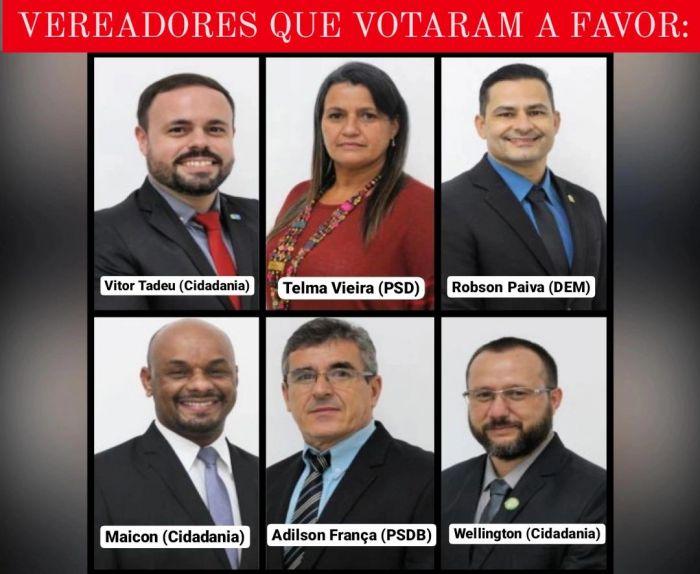 Vereadores que aprovaram a taxa de iluminação pública em Caçapava.