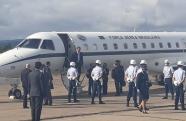 Presidente Bolsonaro chega em Guaratinguetá para solenidade